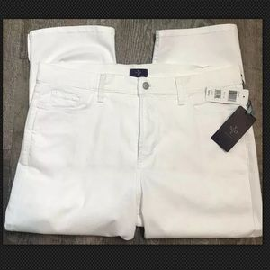 New NYDJ Jeans White NWT Cropped Denim Size 14